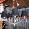 Lysekrone i stål med sorte lampeskærme