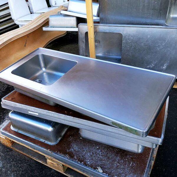 Stålbordblade med vask